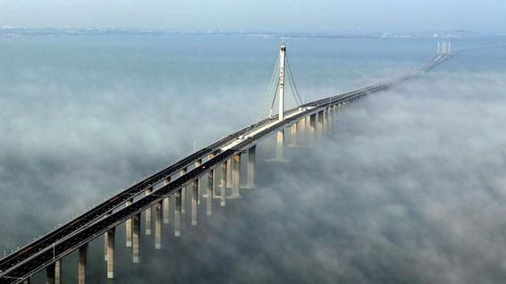 Jiaozhou Bay Bridge in Qingdao, east China