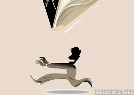 An illustration depicting a person running away from a book
