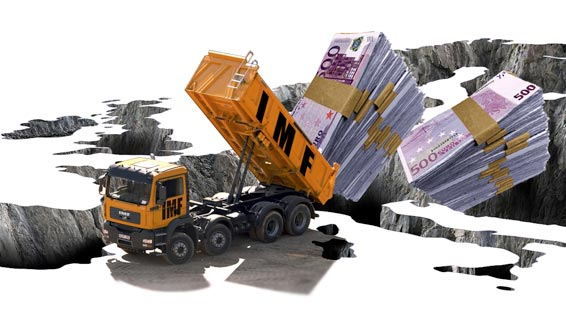 illustration showing a lorry representing the IMF tipping euros in to europe