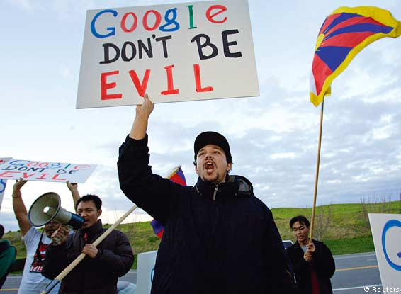 Members of Students For A Free Tibet protest in front of Google's headquarters in Mountain View, California