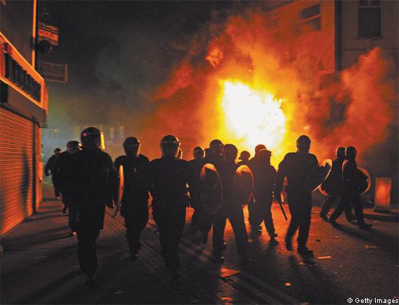 Riot police in Croydon